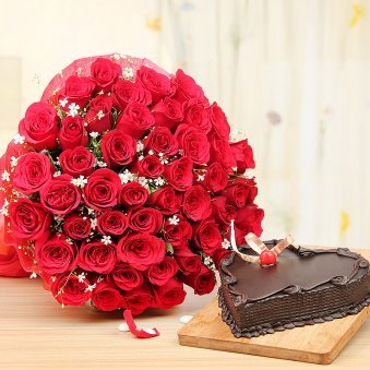 Love Abundance - Combo of 50 red roses bouquet and heart shaped chocolate cake