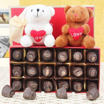 2 teddies and chocolates combo