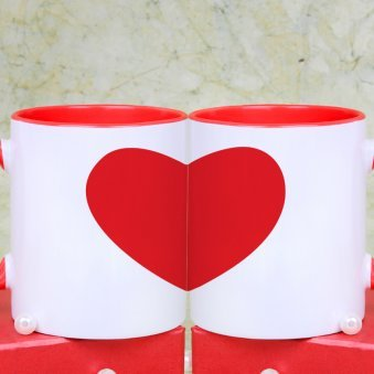 Love Attraction Couple Mugs Set with Hearts View