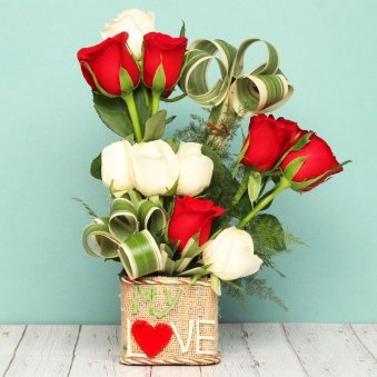 Bunch of Red and White Roses for Love