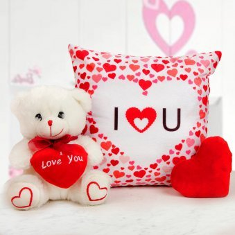 A tiny heart-shaped cushion A 6 inches Teddy bear and A 12x12 inches I Love You Cushion