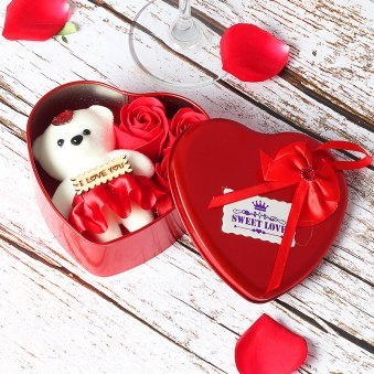 3 Inches White Teddy with 3 Roses in a Box