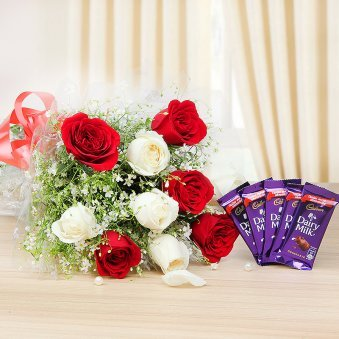 Love Perfections - Combo of 5 white and 5 red roses bunch with 5 dairy milk chocolates