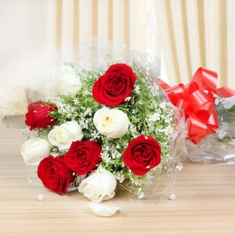 5 white and 5 red roses bunch - Part of Love Perfections