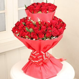 Two Layer Bunch of Fifty Red Roses