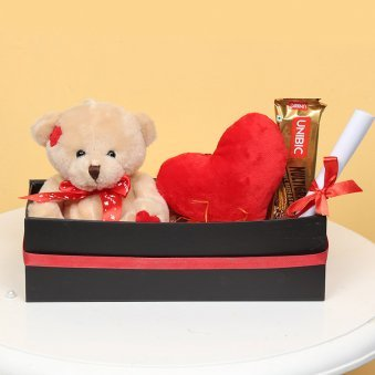 Teddy with Chocolate and a Small Heart