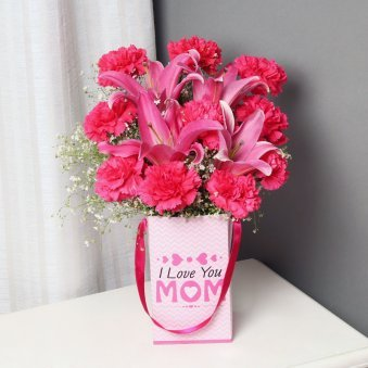 Carnations and Lilies Bunch for Mom