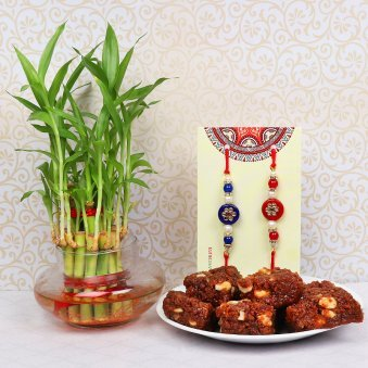 Two Rakhis with Lucky Bamboo and Dodha Gift Combo