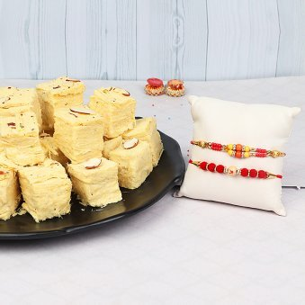 Two Divine Rakhis with Soan Papdi Combo