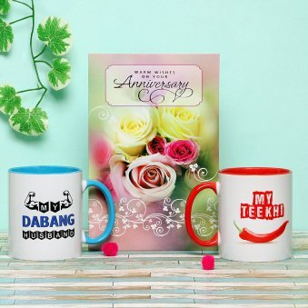 An Anniversary Gift Combo of 2 Mugs and Greeting Card
