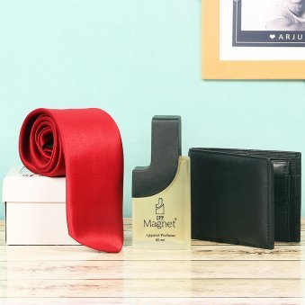 Combo of Black Wallet with Magnet Perfume and Tie with Closer View