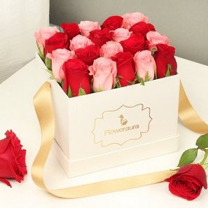 Red and Pink Roses Arrangement in a White Box
