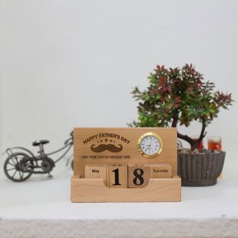Fathers day All in One Wooden Tabletop Calendar and Clock