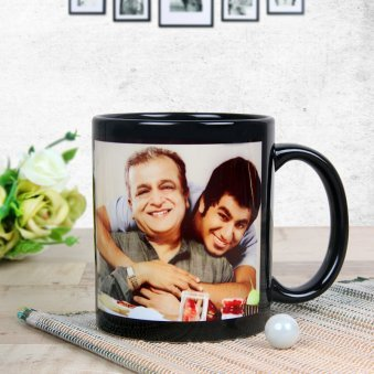 Personalised Dad Black Mug with Front Sided View