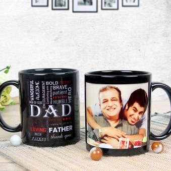 Personalised Dad Black Mug with Both Sided View