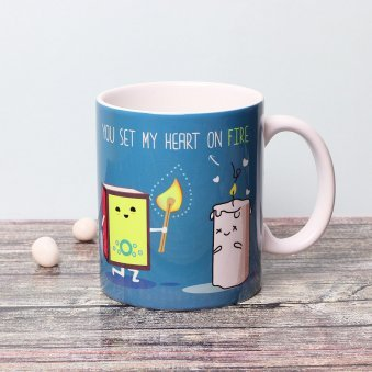 Heart on Fire Printed Mug with Front View