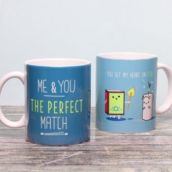 Heart on Fire Printed Mug with Both Sided View