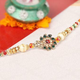 Metallic Kundan Rakhi for Bro