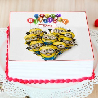 Kids Special Minion Photo Cake - Zoom View