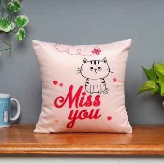 Miss You Printed Cushion with Distant View