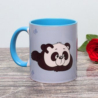 Miss You Panda Printed Mug with Back Side View