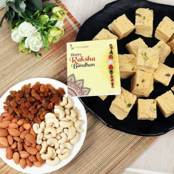 Rakhi with Half Kg Mixed Dry Fruits and Half Kg Soan Papdi