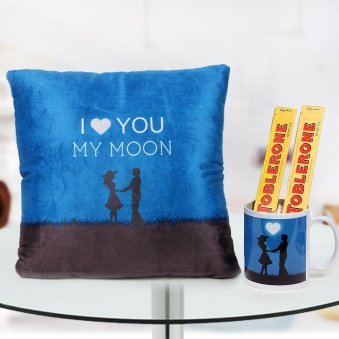 """I Love you moon"" cushion and mug with 2 unit of Toblerone chocolate"