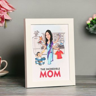 The Incredible Mom - Personalized Caricature Frame