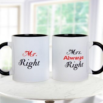 MR. Right and MRS. Always Right Paired Mugs