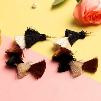 Multi Colour Tassel Drop Earring