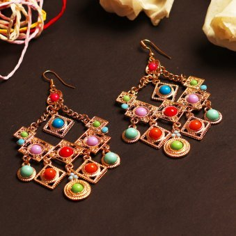 Multi Colour Teardrop Hanging Earring