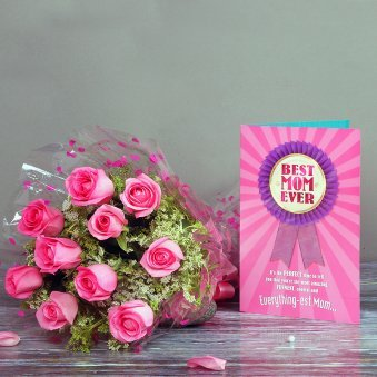 Bunch of Pink Roses and Card Combo for Mom