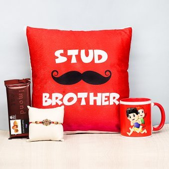 Rakhi and Cushion with Printed Mug and Cadbury Temptation