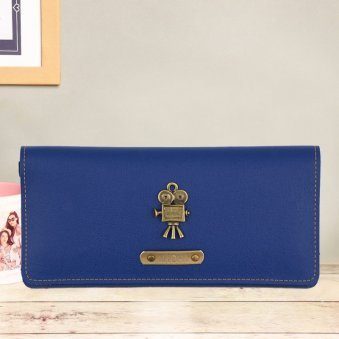 Personalised Navy Blue Womens Wallet