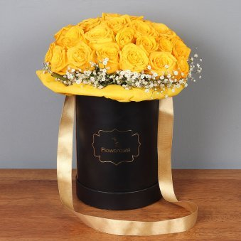 Bunch of Yellow Roses in a Flower Box