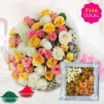 30 mixed roses + mixed dry fruits