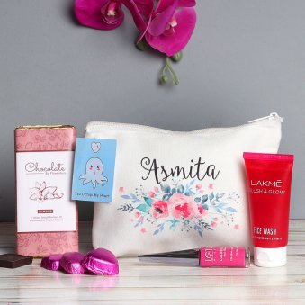 Personalised Makeup Pouch with Accessories with Chocolates Combo