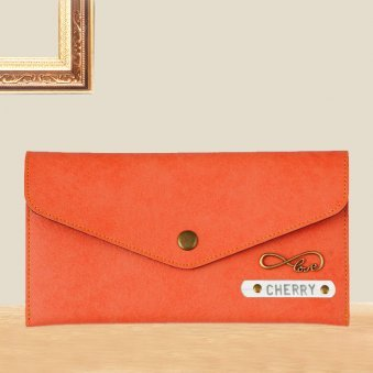 Orange Ladies Personalized Wallet