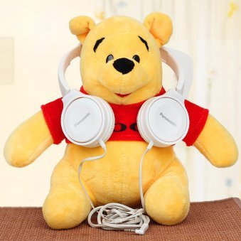 Pooh teddy with white headphones