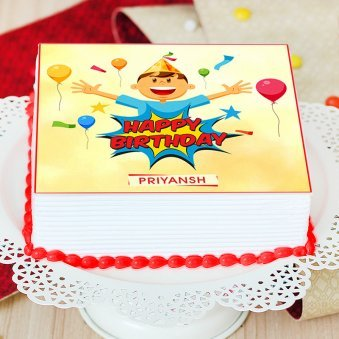 Square Cartoon Cake for Kids