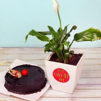 Peace Lily Plant with Chocolate Truffle Cake Combo for Mom
