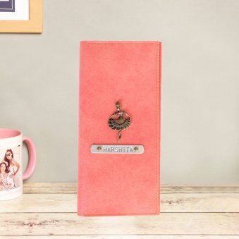 Personalised Peach Coloured Travel Folder