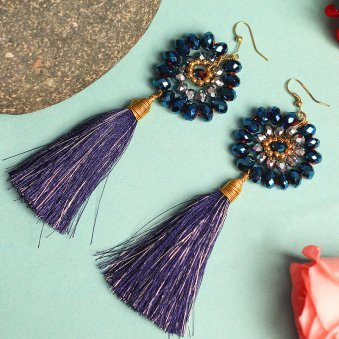 Peacock Navy Blue Tasselled Drop Earrings