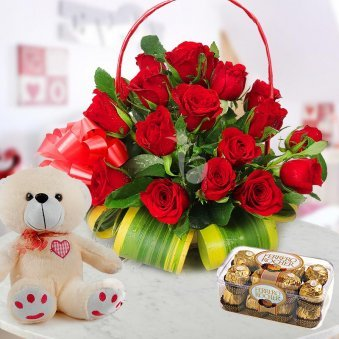 24 Red Roses in Love Basket with a Pack of 16 Ferrero Rochers and 12 Inch Teddy