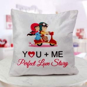 """A 12x12 """"YOU AND ME perfect love story"""" quoted cushion"""