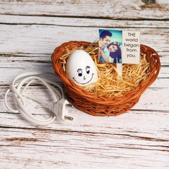 Personalised Love Nest Lamp in Basket