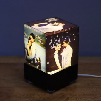 Square Shaped Personalised Lamp With 5 Images
