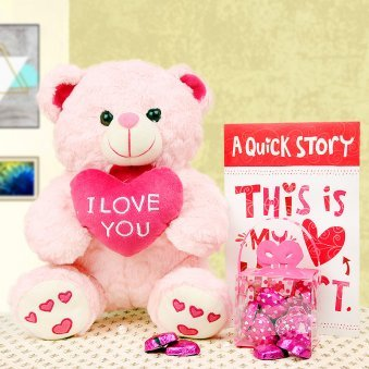 Combo of card and teddy with chocolates