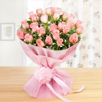 Front View of 25 Pink Roses Bunch - A Gift in Sweet and Simple
