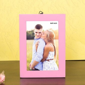 Wooden 7X5 Table Top Pink Photo Frame